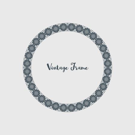 Vintage circular frame of mosaic border. Vector retro design elements and filigree decorations