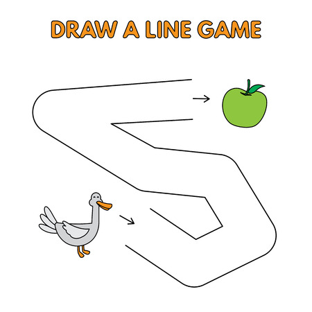 Cartoon Duck Draw a Line Game for Kids
