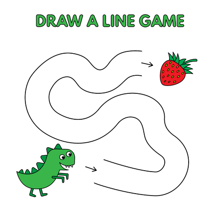 Cartoon dinosaur game for small children - draw a line. Vector design for kids education