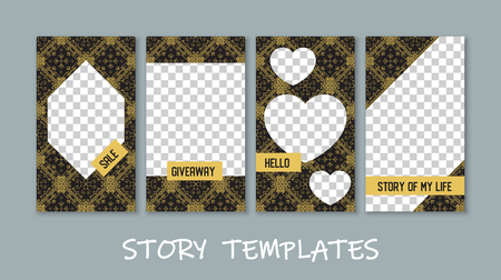 Social media story templates collection. Transparent checkered backgrounds. Sale. Giveaway. Hello. Story of my life Vectores
