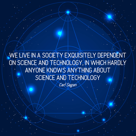 Science Quote on Space Geometric Background