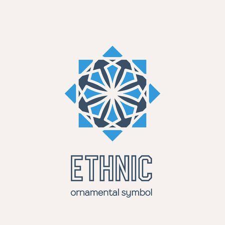 Mosaic arabic ornament. Vector circular emblem for ornamental design or