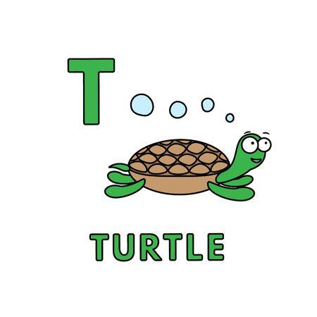 Vector Cute Cartoon Animals Alphabet. Turtle Illustration Illusztráció