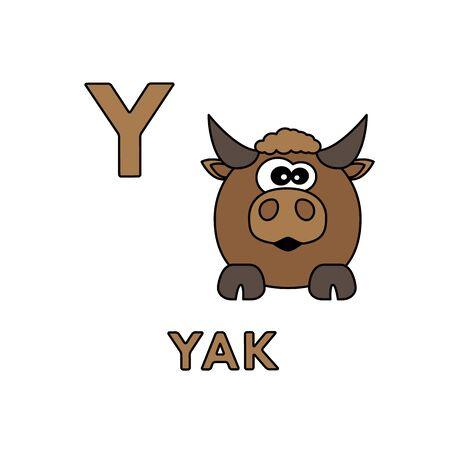 Vector Cute Cartoon Animals Alphabet. Yak Illustration Illusztráció