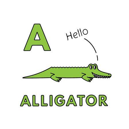 Vector Cute Cartoon Animals Alphabet. Alligator Illustration