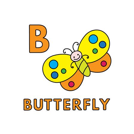 Vector Cute Cartoon Animals Alphabet. Butterfly Illustration