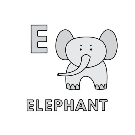 Vector Cute Cartoon Animals Alphabet. Elephant Illustration
