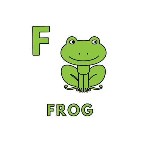Vector Cute Cartoon Animals Alphabet. Frog Illustration 版權商用圖片 - 129561313