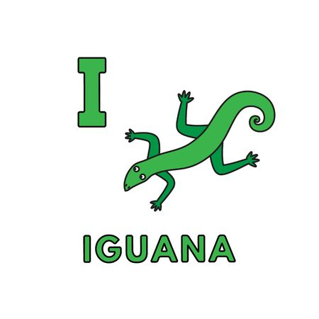 Vector Cute Cartoon Animals Alphabet. Iguana Illustration