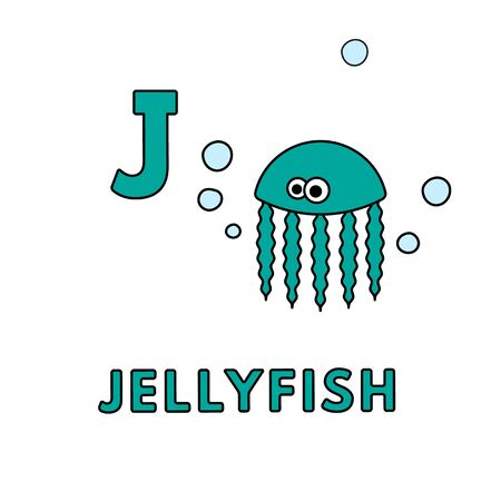 Vector Cute Cartoon Animals Alphabet. Jellyfish Illustration