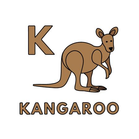 Vector Cute Cartoon Animals Alphabet. Kangaroo Illustration Stock fotó - 129561327