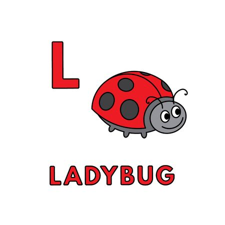 Vector Cute Cartoon Animals Alphabet. Ladybug Illustration 向量圖像