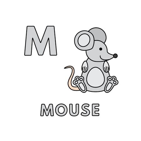 Vector Cute Cartoon Animals Alphabet. Mouse Illustration 向量圖像