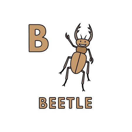 Vector Cute Cartoon Animals Alphabet. Beetle Illustration 向量圖像