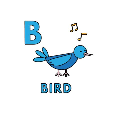 Alphabet with cute cartoon animals isolated on white background. Flashcard for children education. Vector illustration of bird and letter B Иллюстрация