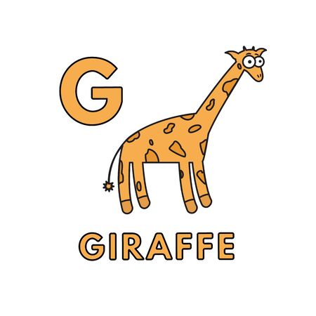 Vector Cute Cartoon Animals Alphabet. Giraffe Illustration Stock Illustratie