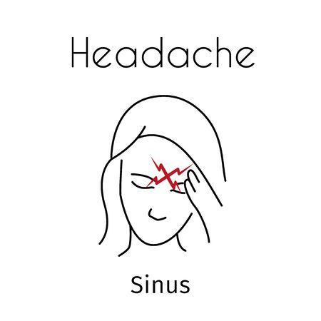 Vector Headache Linear Icon of Girl 写真素材 - 129561384