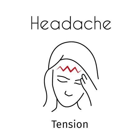 Vector Headache Linear Icon of Girl 写真素材 - 129561382