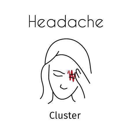 Vector Headache Linear Icon of Girl 写真素材 - 129561428