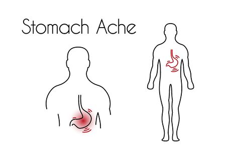 Stomach ache linear icon. Vector abstract minimal illustration of young man with red spot on his tummy suffers from stomach ache. Design template for medicine or therapy for upset stomach or ulcer.