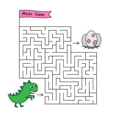 Cartoon Dino Maze Game Ilustração Vetorial