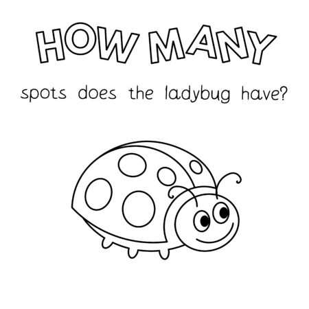 Cartoon ladybug counting game. Vector coloring book pages for children education. How many spots does the ladybug have 일러스트