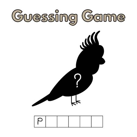 Cartoon Parrot Guessing Game Illustration