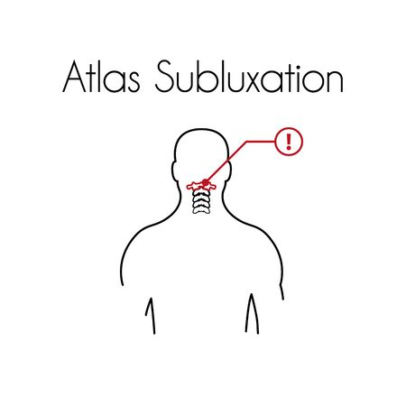 Vector Atlas Subluxation Linear Icon of Young Man
