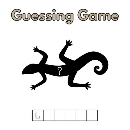 Cartoon Lizard Guessing Game Illustration