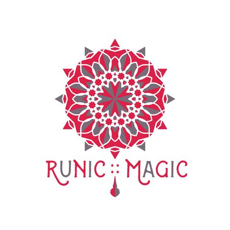 Asian ornamental emblem. Oriental geometric template. Vector arabic circular mosaic symbol