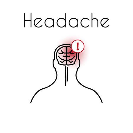 Headache Linear Icon with Brain