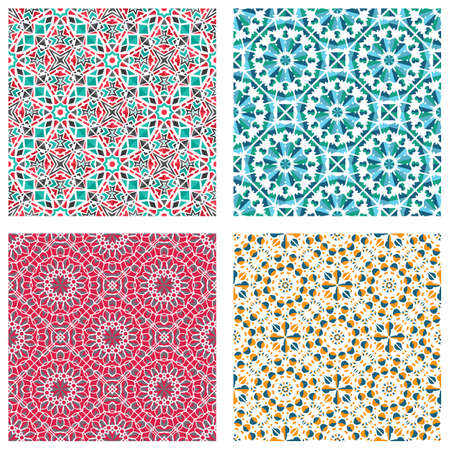 Seamless textures with colorful arabic geometric ornament. Vector asian mosaic patterns set with alternating decorative elements. Abstract design for textile and cloth
