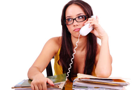 Too much work. A stressed businesswoman has a headcahe. Stock Photo - 9535187