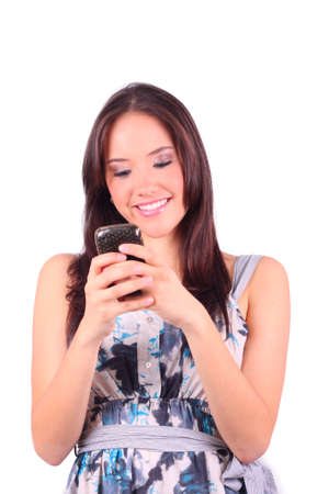 Casual Girl, happy, looking at her cellphone Stock Photo - 9575721