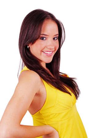 lovely girl in yellow dress over white Stock Photo - 9575730
