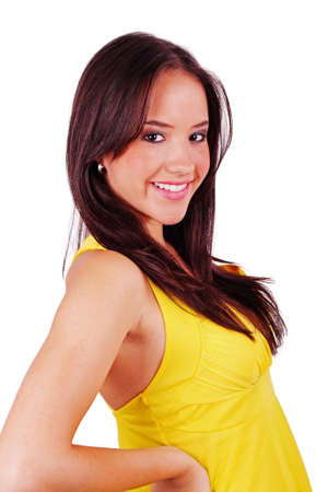 lovely girl in yellow dress over white Stock Photo - 9575730