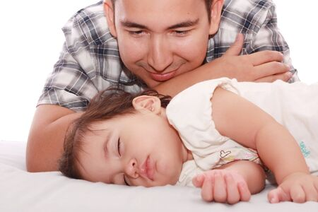 Portrait of loving father and his baby Stock Photo - 9596142