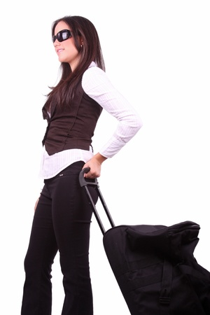 American business woman traveling with suitcase  photo