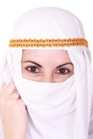 beautiful young arabic woman Middle East in the national headdress, isolted over white image, isolated on the white background,attractive caucasoid girl on the middle east  photo