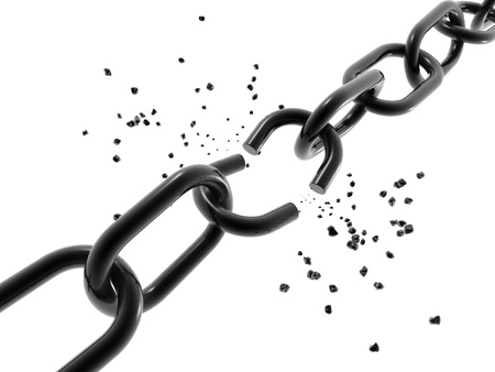 A computer generated image of a chain with a broken link.  photo