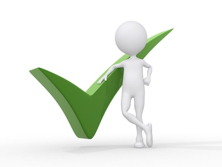 ????? 3d: 3D person getting it right with a green check mark - isolated over a white background