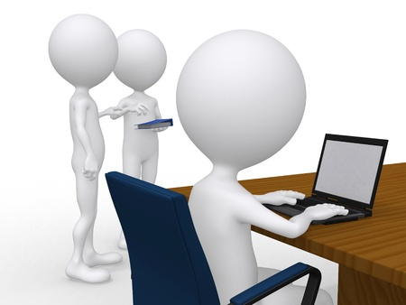 business meeting laptop: 3D Business people at a corporate meeting - isolated over a white background