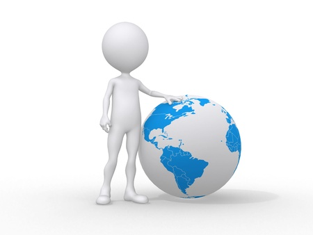 cyber business: 3d people icon and the earth globe -This is a 3d render illustration  Stock Photo