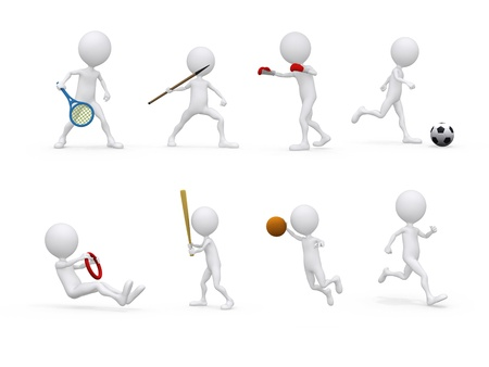 sports figure icon character set in different positions  photo