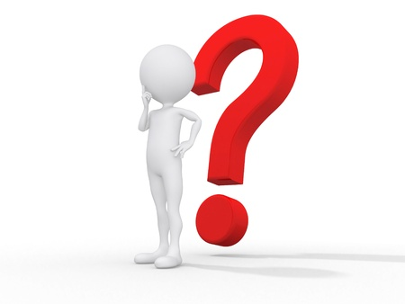 3d guy thinking in front of a big question mark - Isolated Stock Photo - 10109585