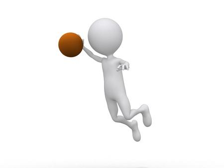 3D playing basketball making a dunk photo