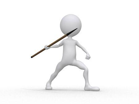 lanzamiento de jabalina: Lanzamiento de jabalina (3d en el fondo del deporte blanco series caracteres)