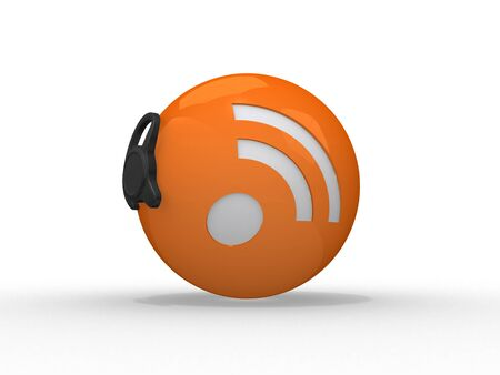 icon idea idiom illustration: 3d illustration of rss symbol with headset, orange sphere over white background