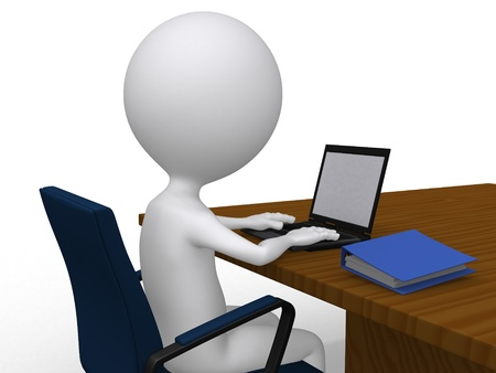 man with laptop: 3D business man on his desk with laptop - isolated over a white background