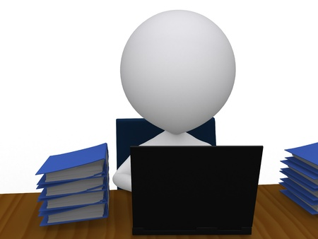 hardworker: 3D busy business man with a pile of work on his desk - isolated